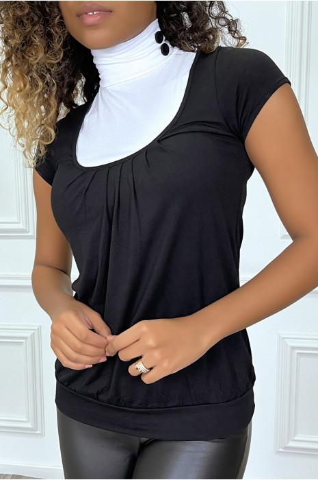 Top noir bicolore à col roulé et manches courtes