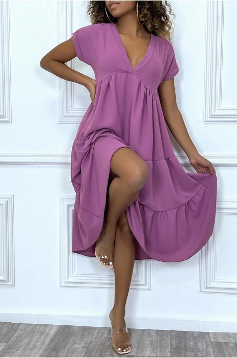 Longue robe tunique col V à volant en violet