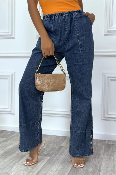 Pantalon jean loose à patte d'eph, pression aux pieds