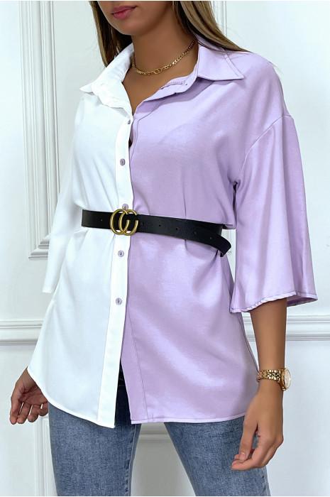 Chemise rose bicolore satinée à ceinture