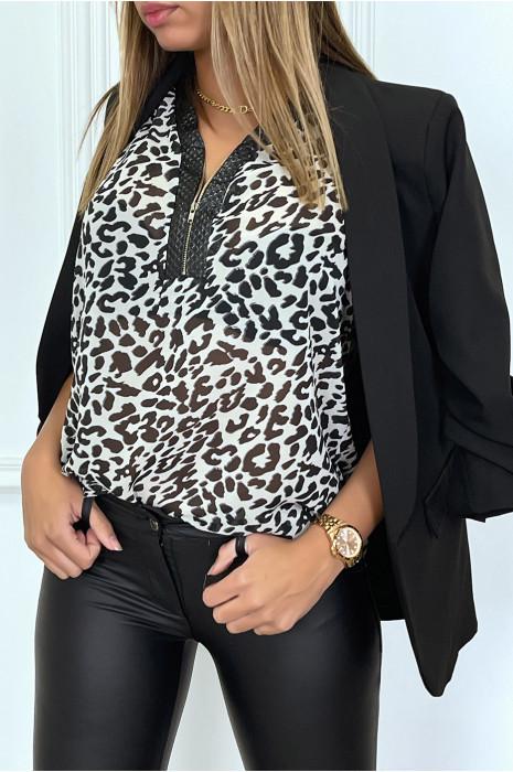 Top débardeur beige en voilage à motif léopard