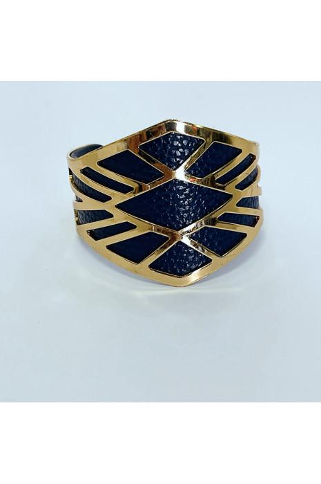 Bracelet en jonc doré à simili marine forme asymétrique
