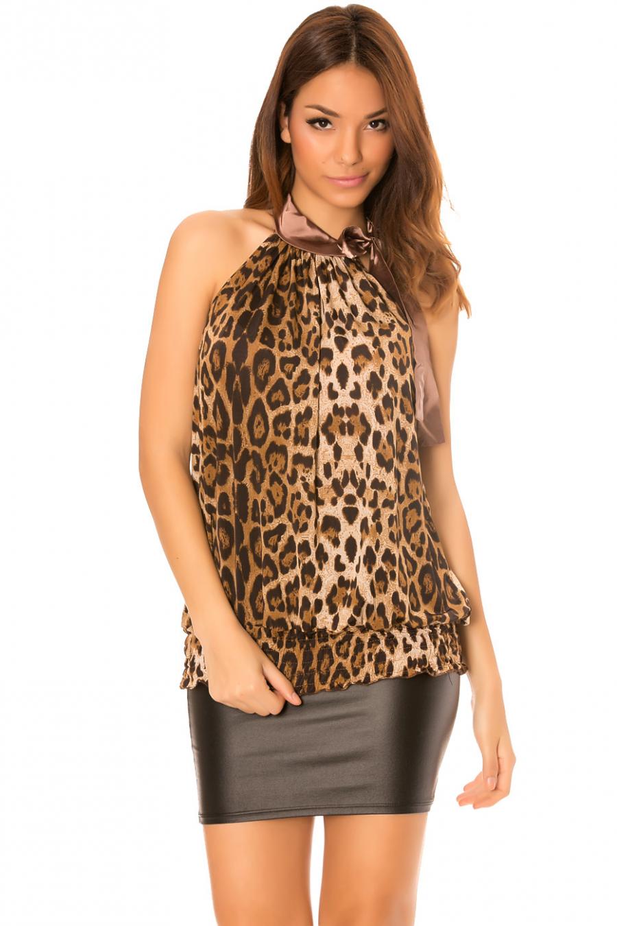 Top Taupe à motifs léopard avec attache au cou.6079