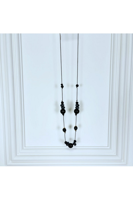 Collier sautoir femme en perles noires