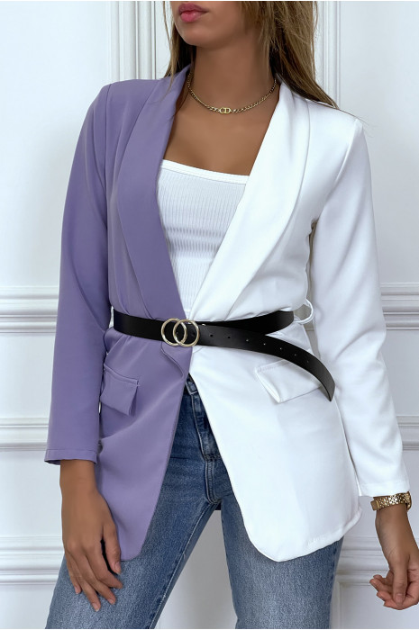 White and beige bi-color blazer with belt and lapel collar