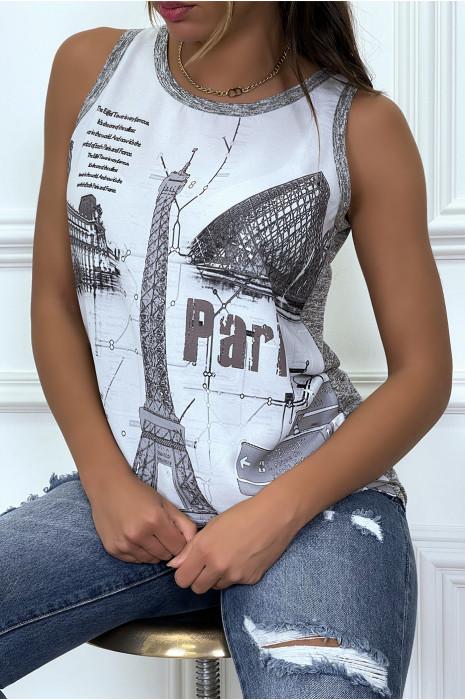 Top gris en voilage bi matière imprimé Paris