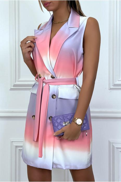 Robe blazer tye and dye lila à boutons et ceinture