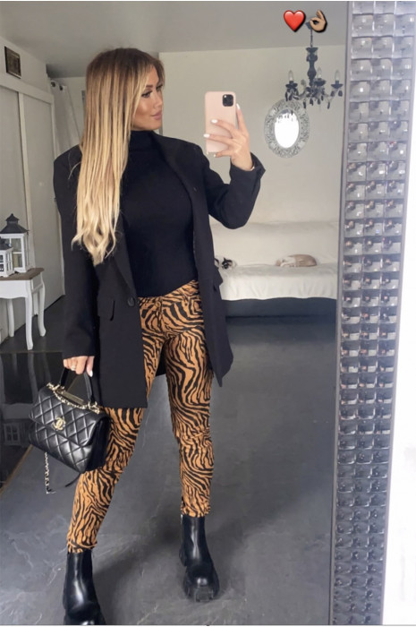 Mosterdgeel stretch jeansbroek met zak en zwart patroon - S1317F