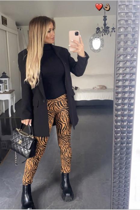 Pantalon Jeans moutarde extensible avec poche et motif noir - S1317F