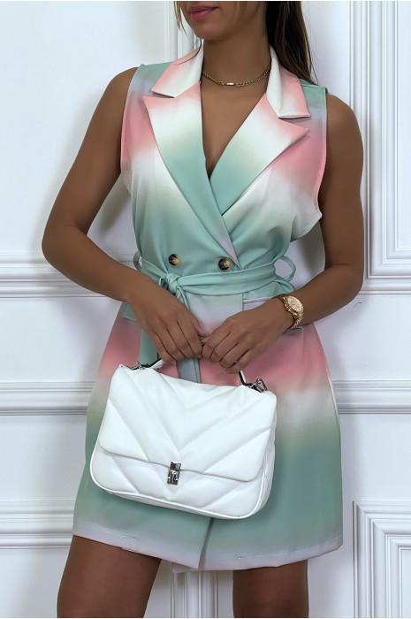 Robe blazer tye and dye à boutons et ceinture
