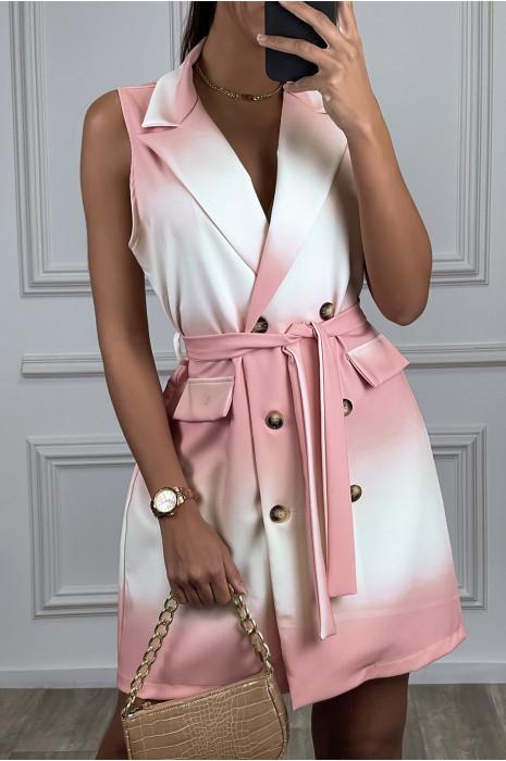 Robe blazer tye and dye rose à boutons et ceinture