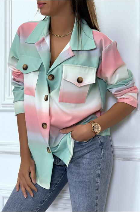 Oversized beige faux leather shirt jacket