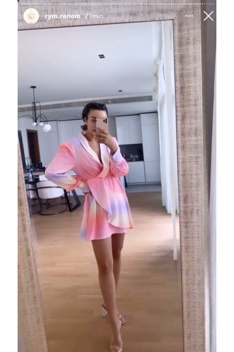 Robe cache coeur tie and dye col revers