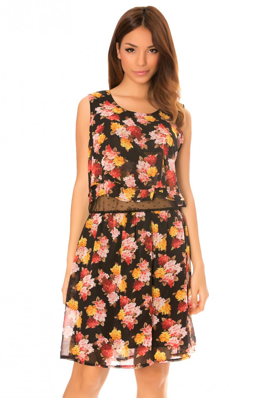Mouwloze zwarte jurk met bloemenpatronen, met voering van tule. MC938