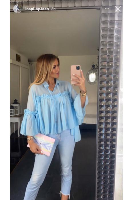 Oversized blouse in blauw met ruche en strik bij de kraag