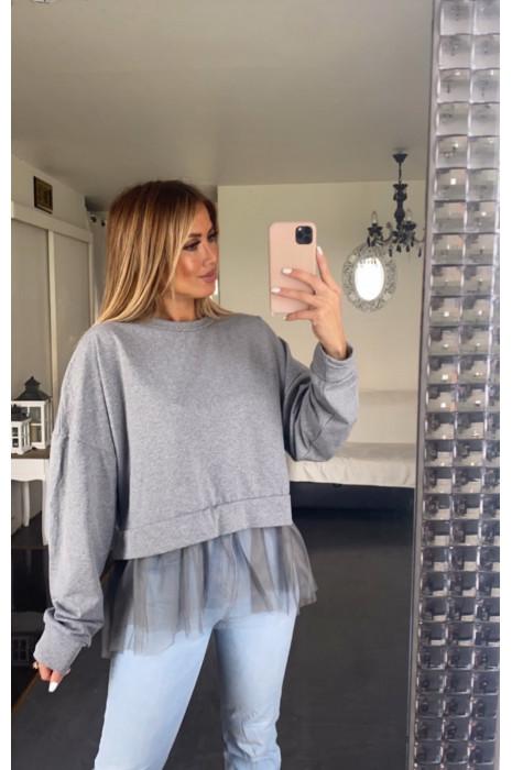 Oversized sweatshirt in grijs gemêleerd met ruches van tule in de taille