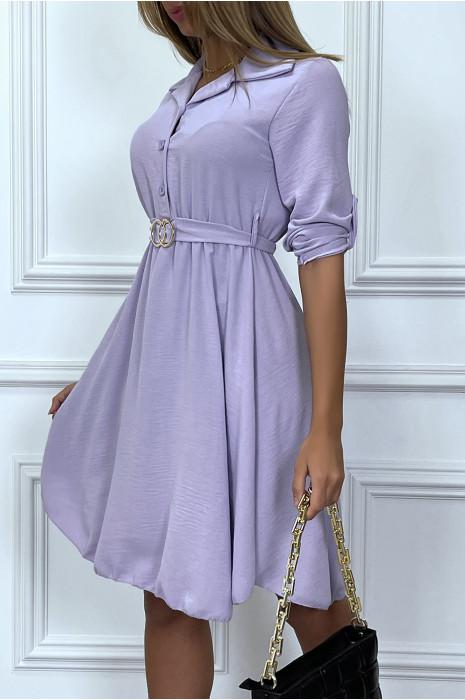 Robe chemise lila avec ceinture boucle