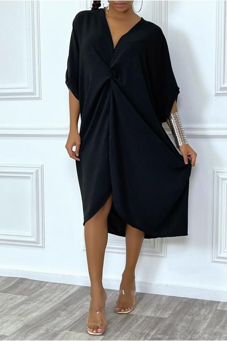 Robe tunique oversize bleu col v détail froncé