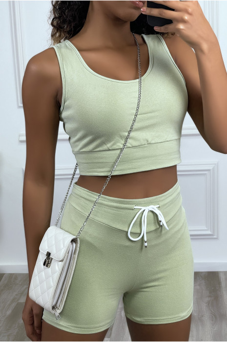 Cropped tank top and shorts set