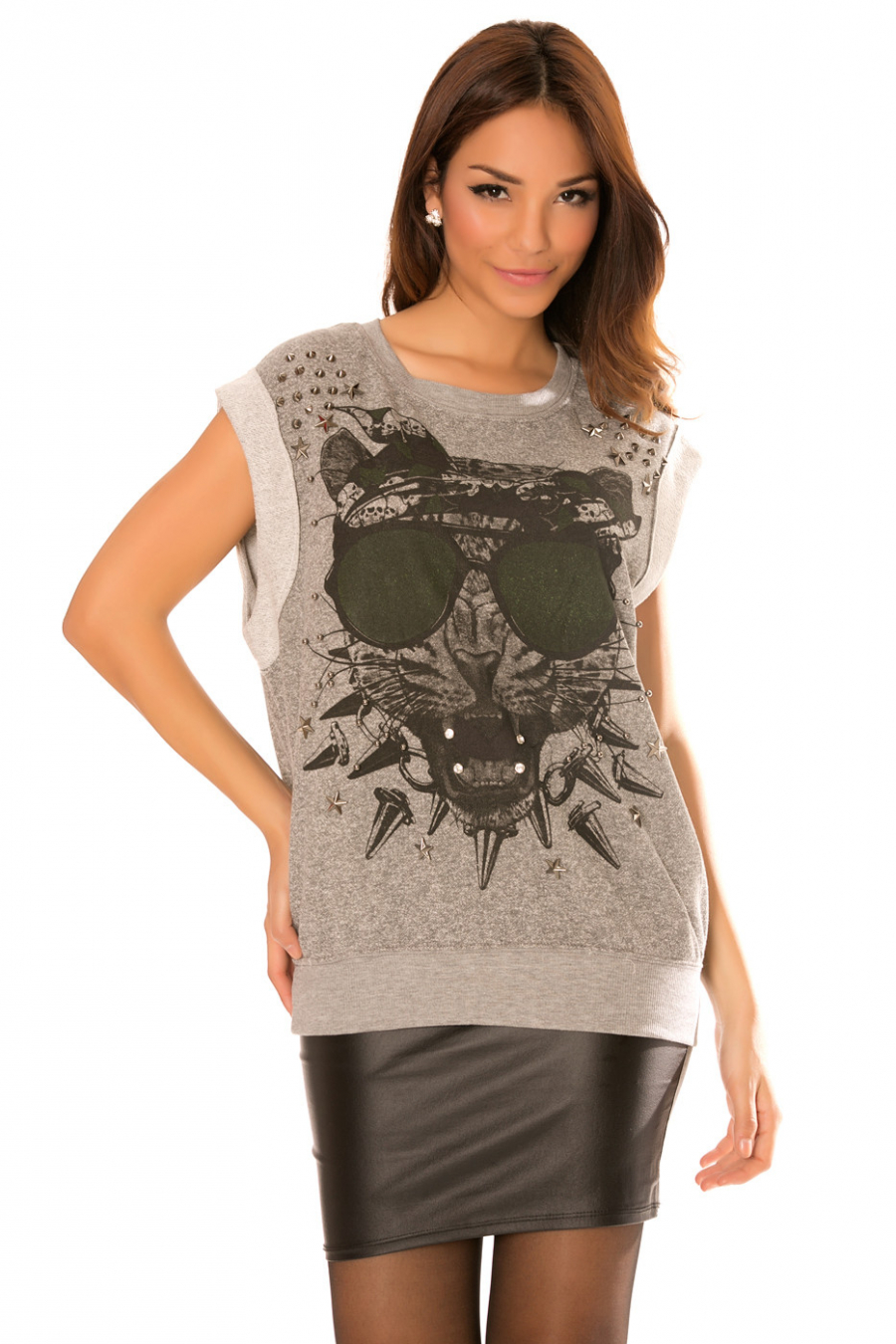 Anthracite sleeveless tiger patterned top with studs on the shoulders. F2260