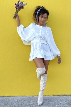 White ruffle bat sleeve shirt dress