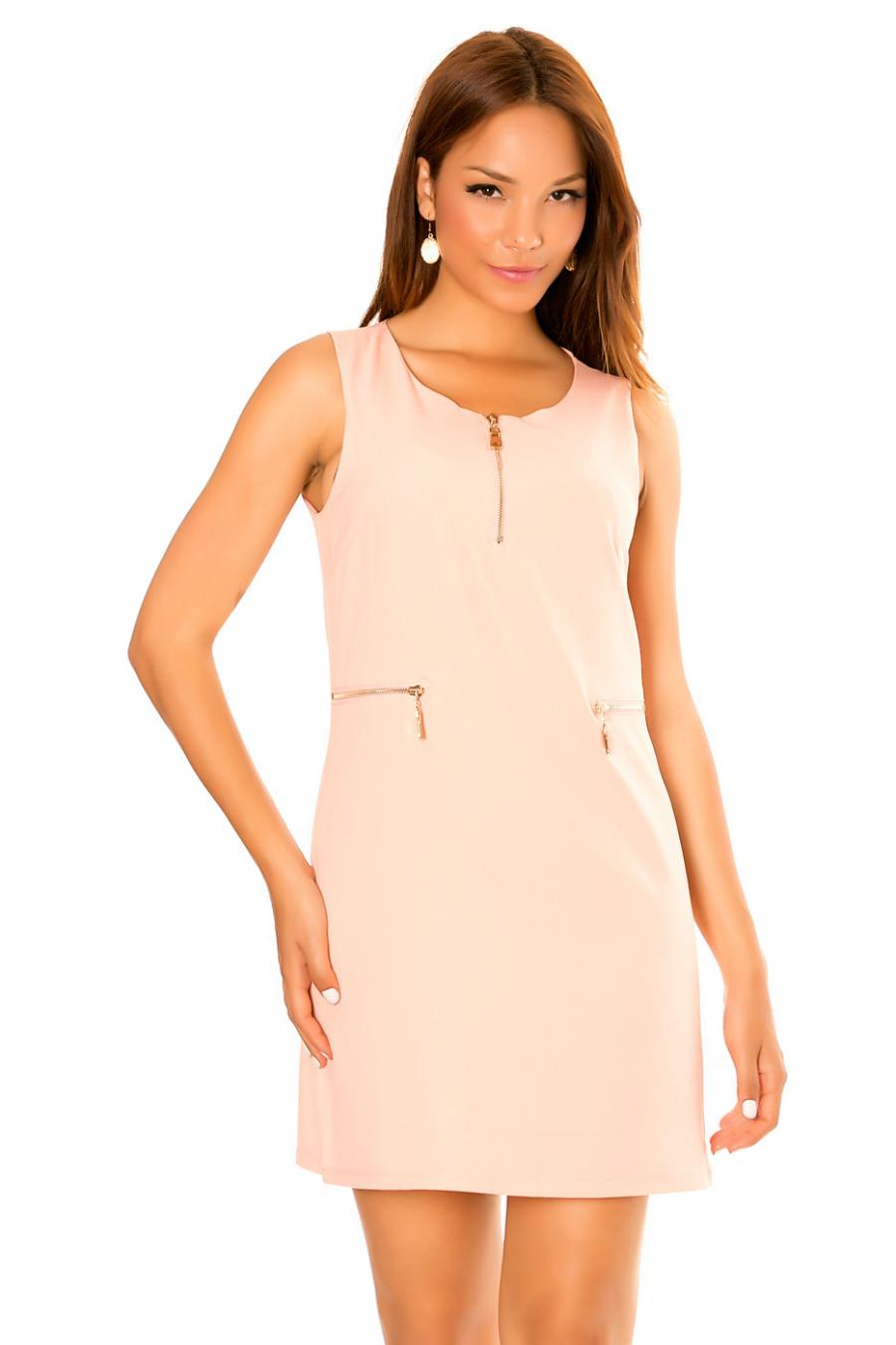 Robe droite rose à col zip et poche fantaisies zip