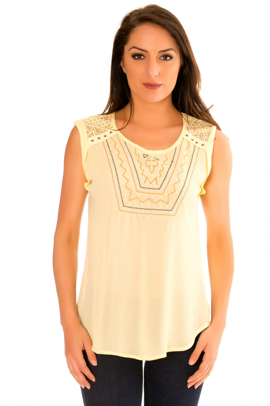 Yellow round neck top with embroidery, lace on the shoulders at the back. F9912