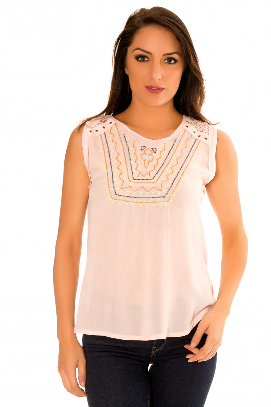 Pink round neck top with embroidery, lace on the shoulders at the back. F9912