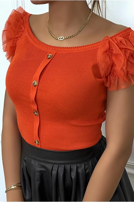 Top orange col bateau boutonné avec froufrou aux épaules