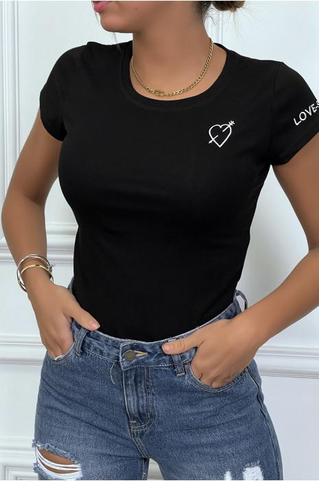 I love coeur taupe col en V T-shirt