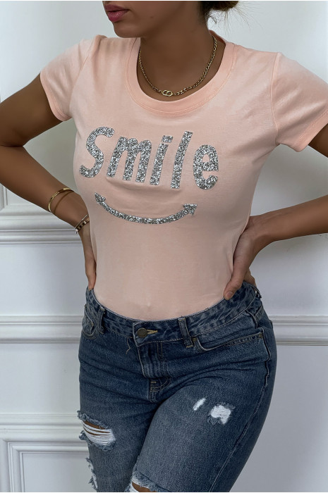 Blue t-shirt with rhinestone SMILE writing