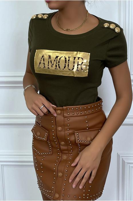 T-shirt kaki avec écriture AMOUR et boutons aux épaules