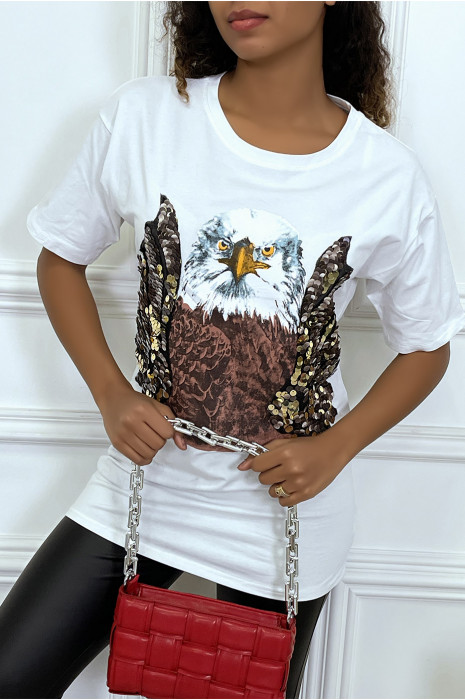 Tee-shirt blanc oversize avec dessins details sequins