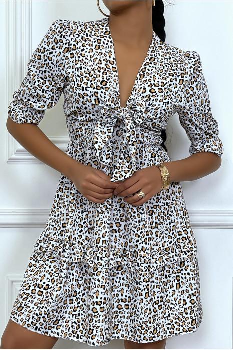 Robe lila motif léopard cintré à la taille avec noeud au buste