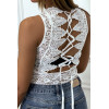 Black lace bodysuit with embroidery and lace at the back
