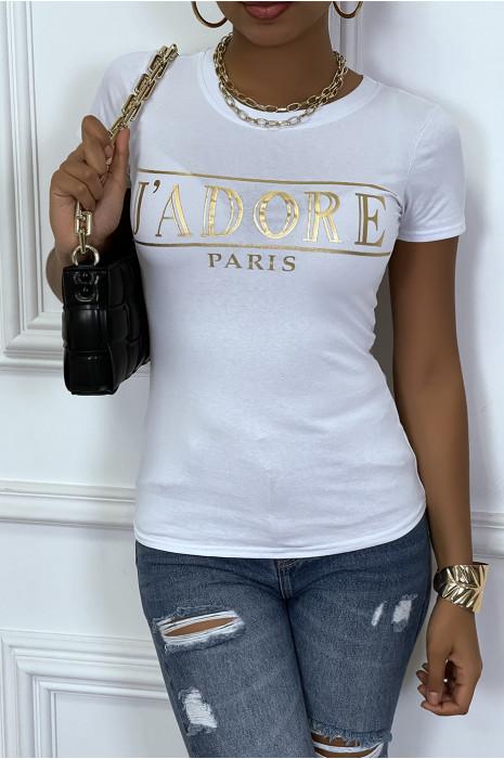 Tee-shirt gris avec ecriture J'ADORE en dorée