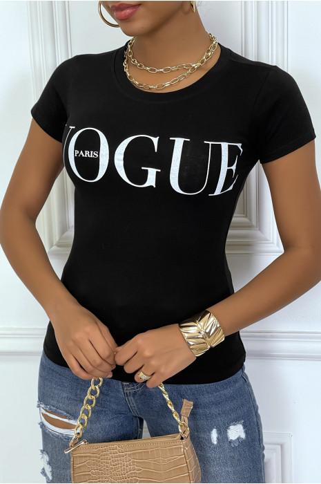 Tee-shirt noir avec ecriture VOGUE en blanc