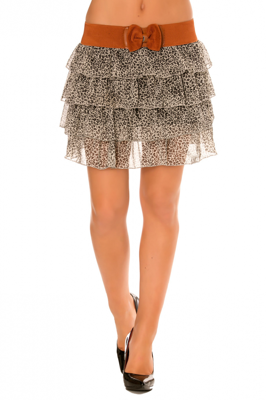 Skirt with flounce, beige / black floral prints with a wide belt. 920