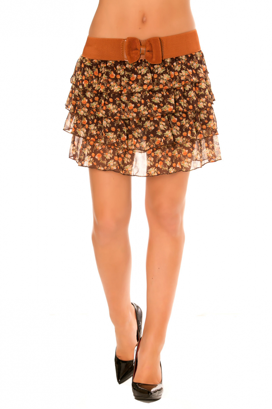 Skirt with flounce, floral prints Brown with a wide belt. 920
