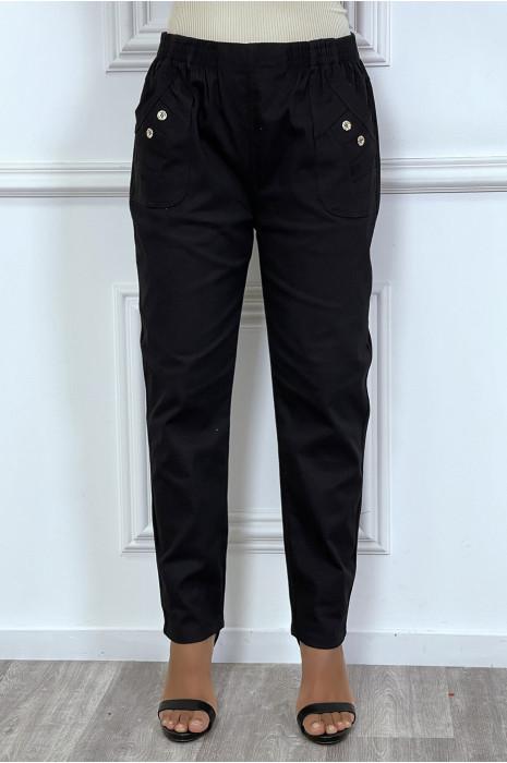 Pantalon noir grande taille coupe cigarette et ceinture élastique
