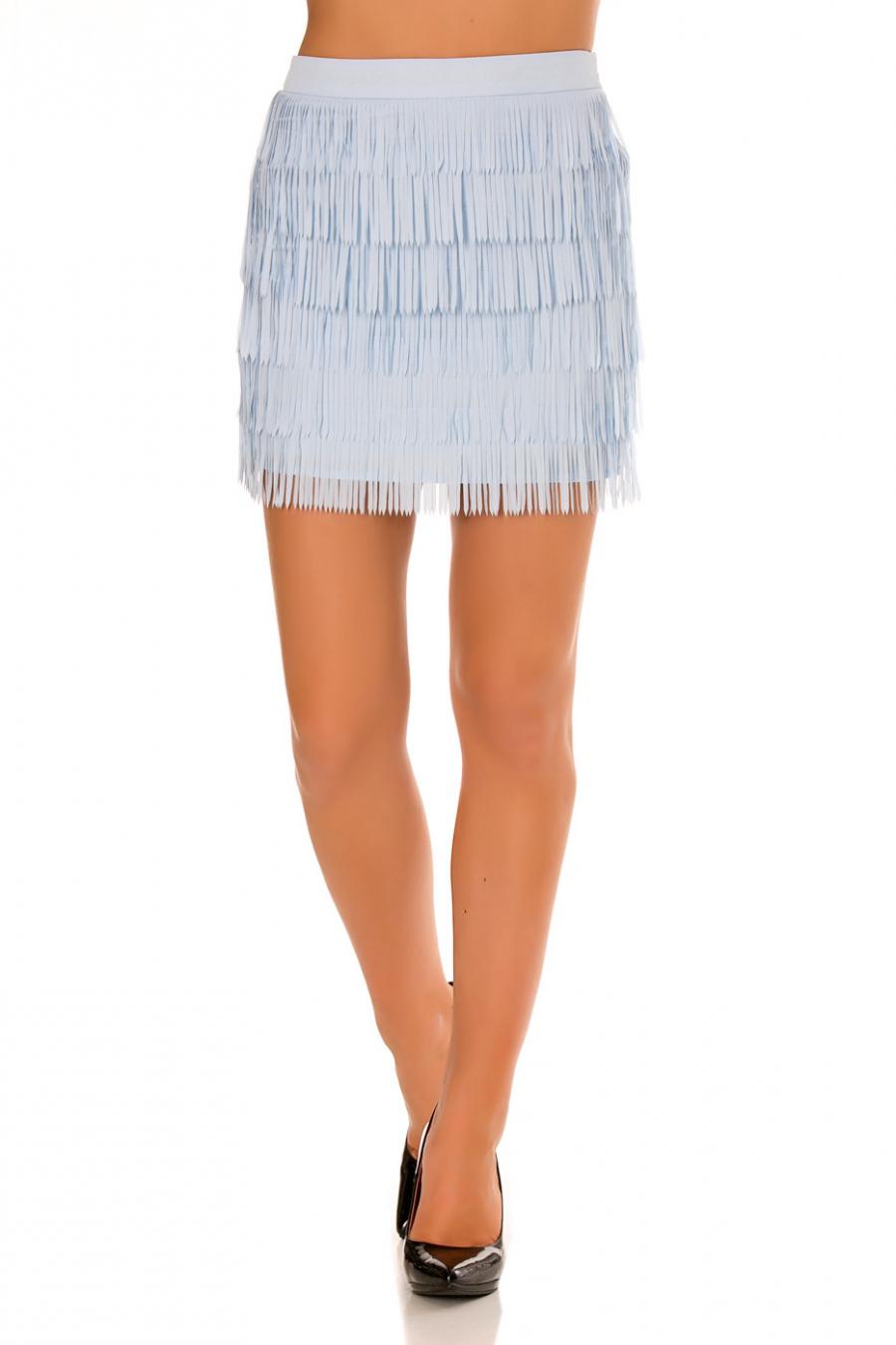 Mini Jupe bleu à frange très fashion idéal pour l'été. Mode femme pas cher. 7785