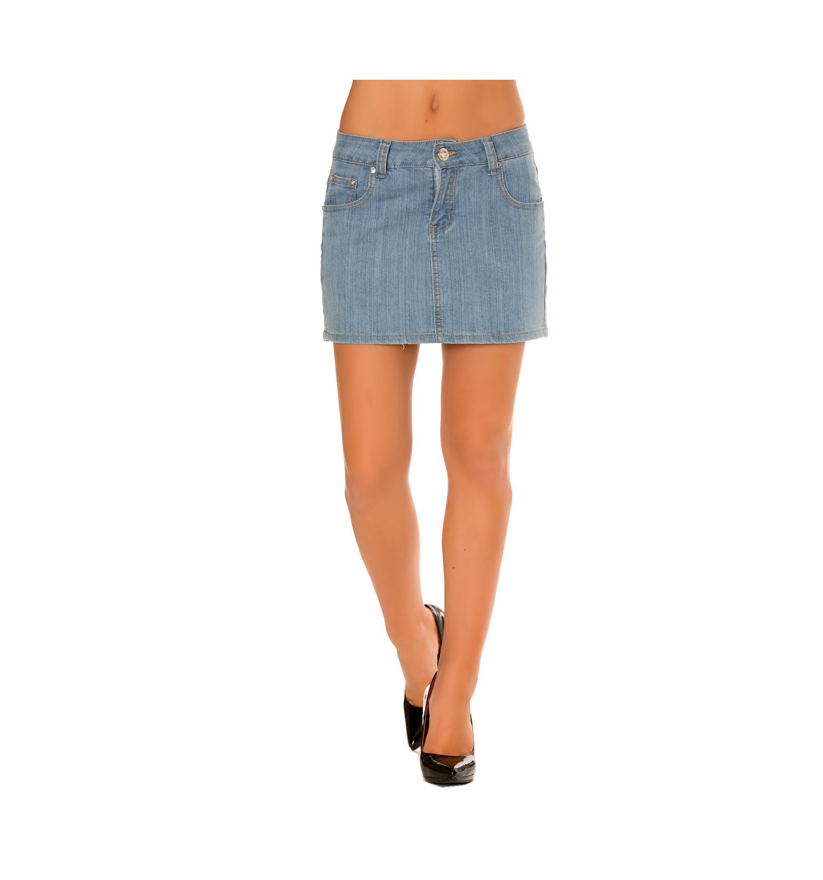 Mini jupe en jeans avec poche. Prêt à porter femme pas cher