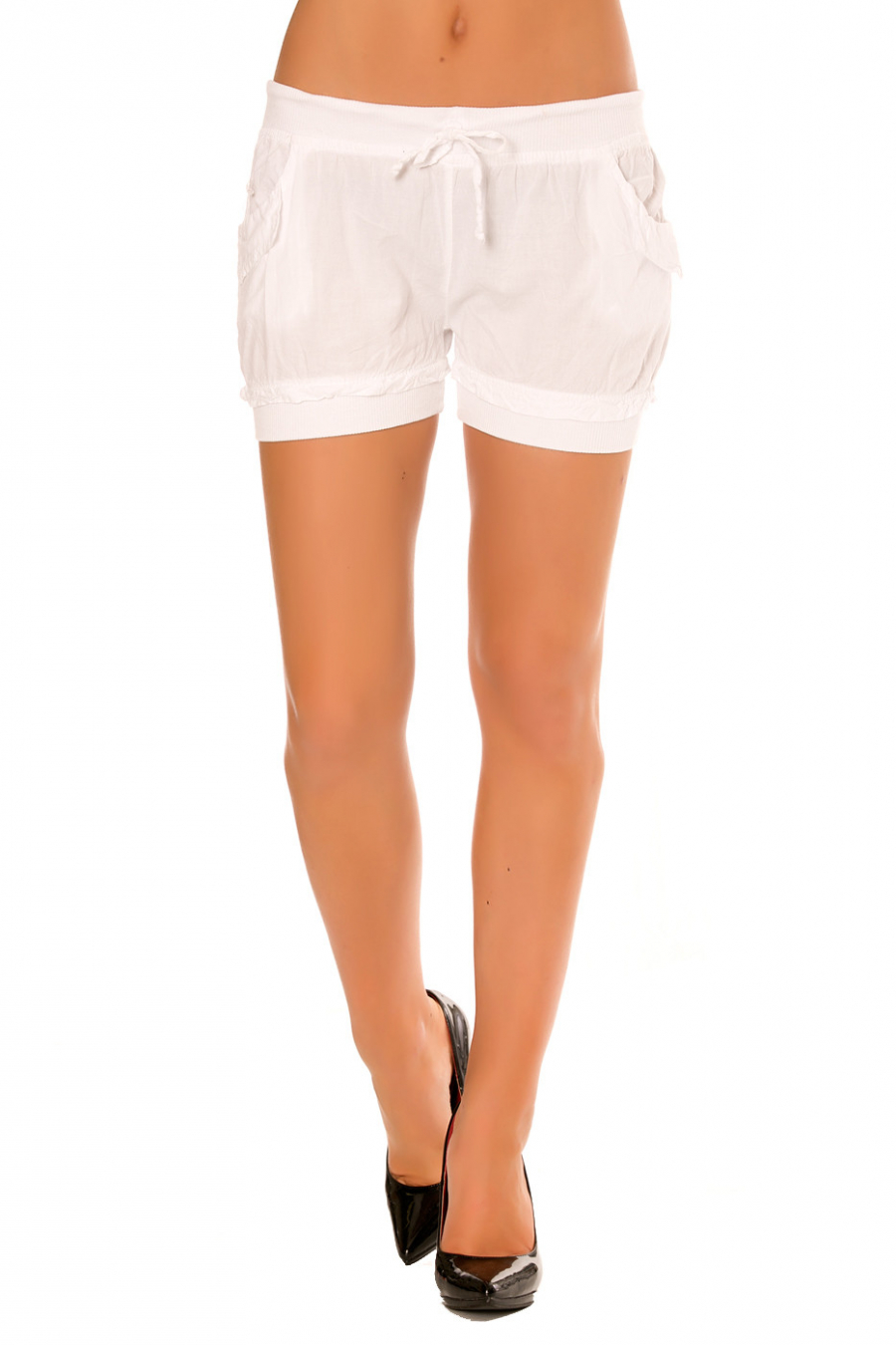 White mini shorts with elastic on the leg and waistband. Pocket on the sides. M801