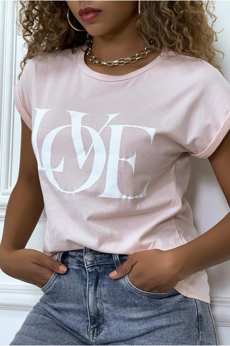 T-shirt lilas manches revers avec écriture LOVE