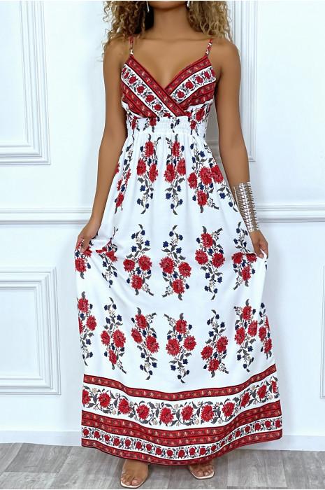 Robe blanche buste croisé à fleur rouge