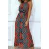 Longue robe rouge motif aztèque