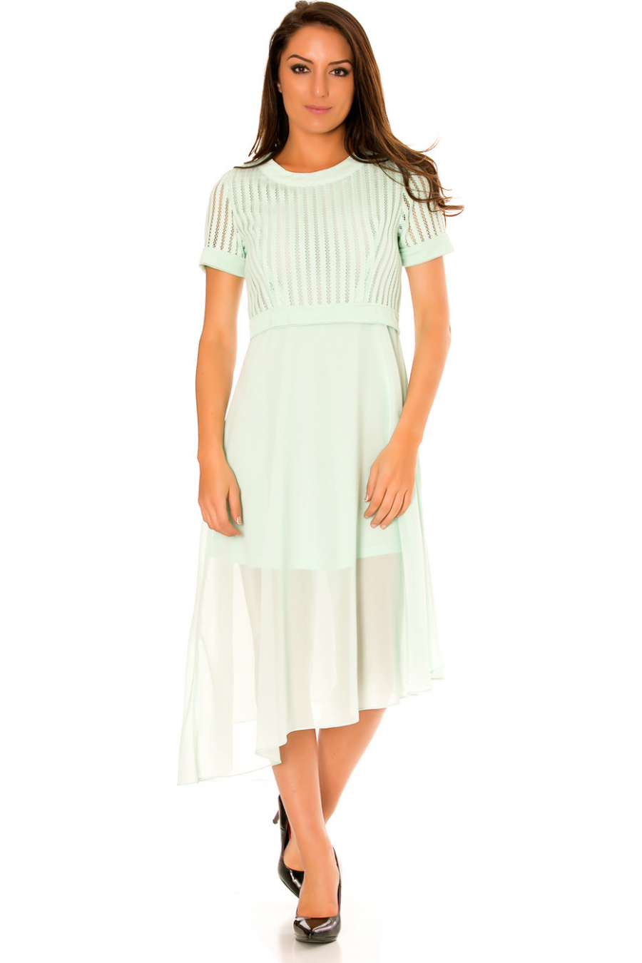Asymmetric, bi-material water green dress. Top with hole and sheer skirt. F6281
