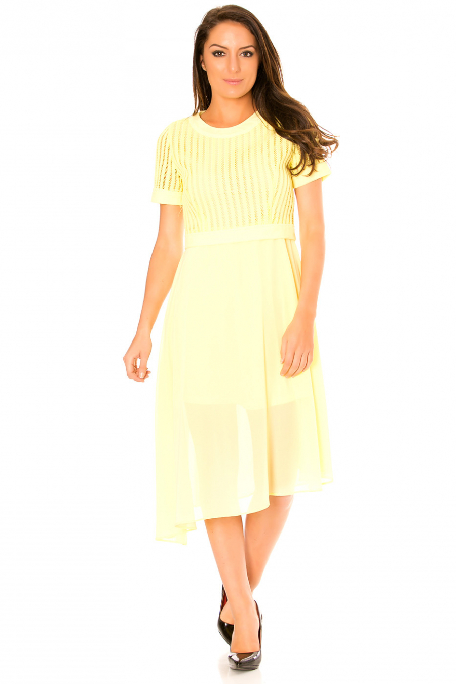 Asymmetric yellow dress and bi-material. Top with hole and sheer skirt. F6281