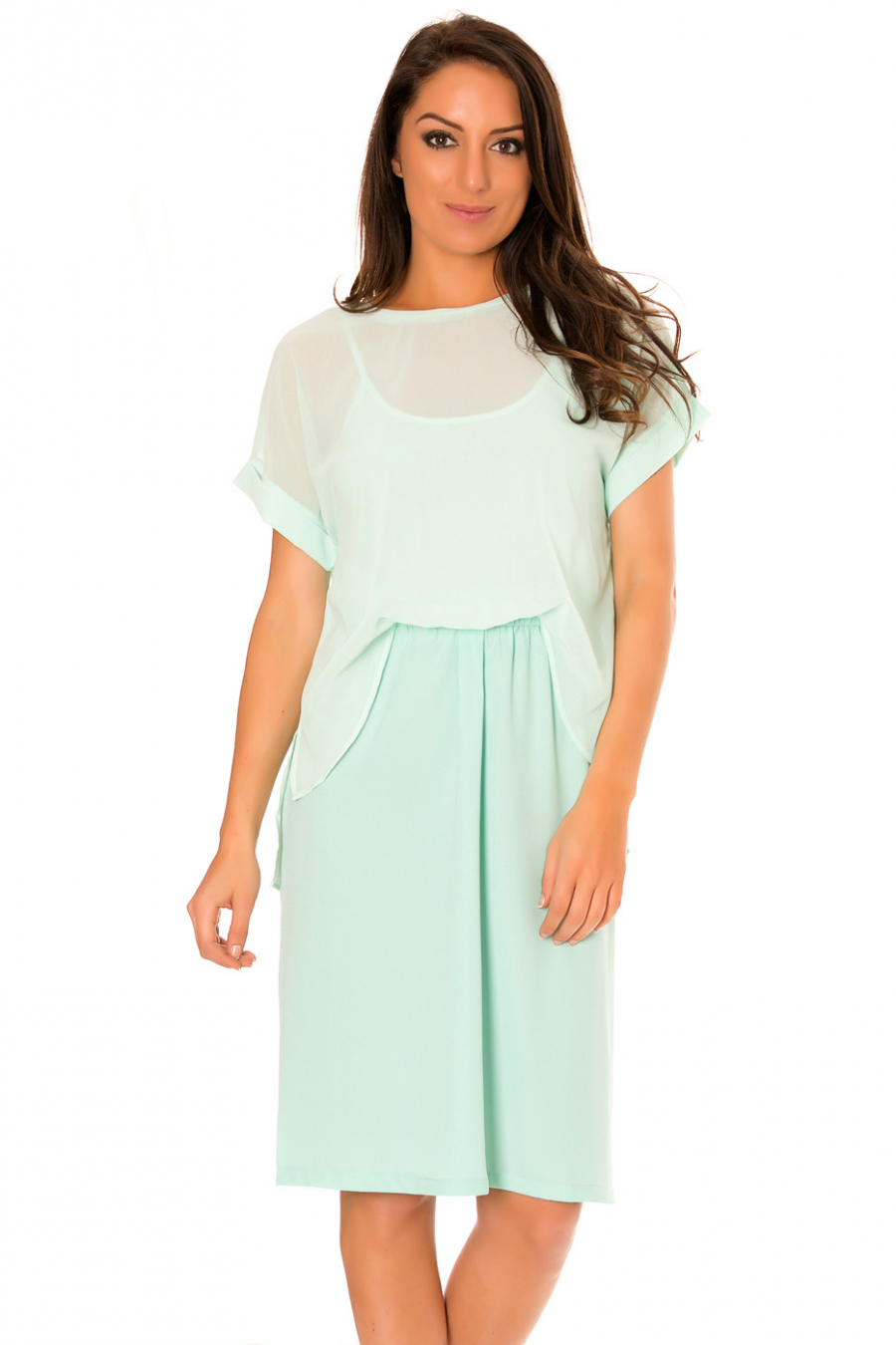 Robe vert d'eau en voilage, style 2 pièces jupe et top. F5562