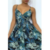 Long royal blue summer dress with tropical print and cinched at the waist.